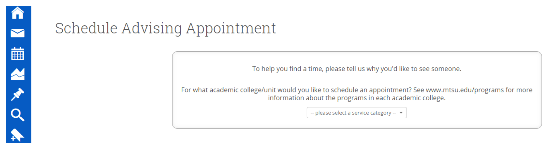 Appointment reason screenshot