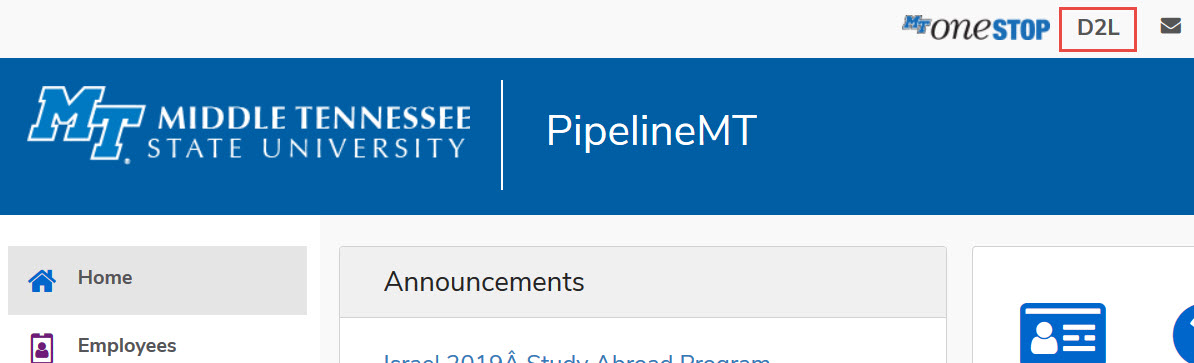 Pipeline D2L Option along the top