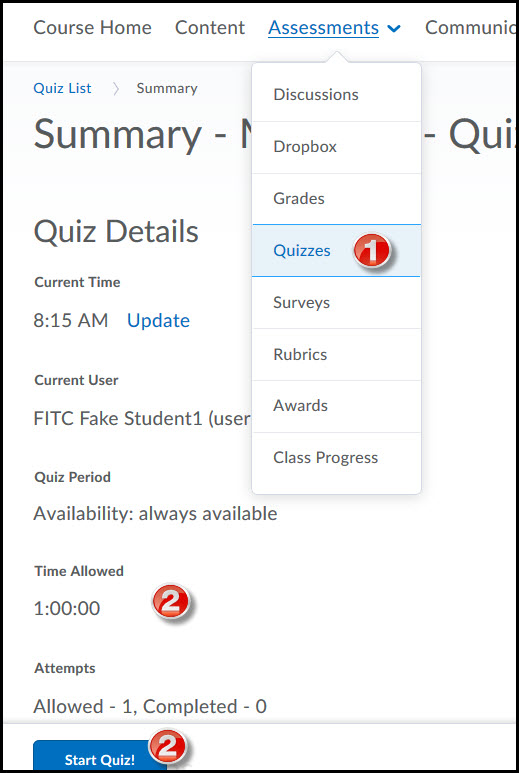 D2L Quizzing Area