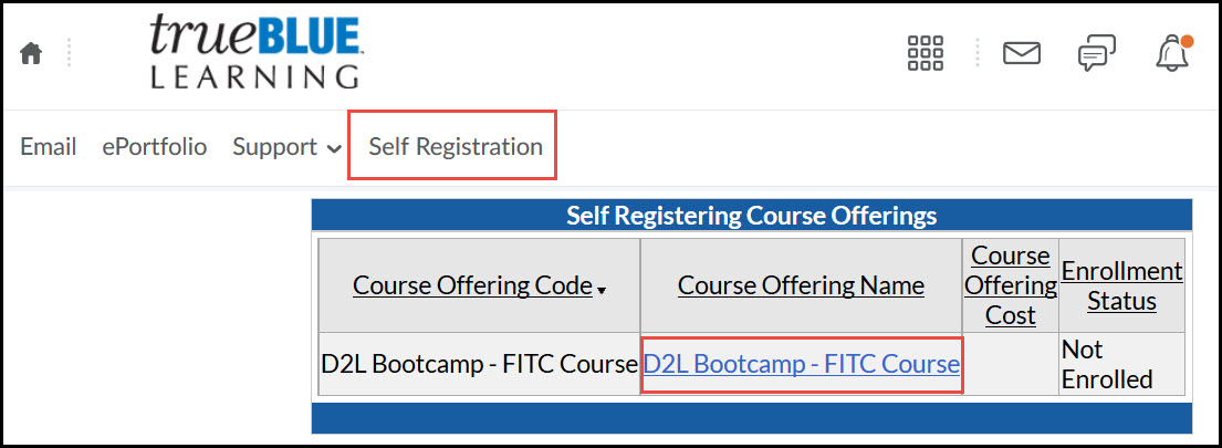 Self Registration for D2L Bootcamp Course