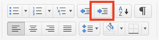 MS Word indent button highlighted in the ribbon