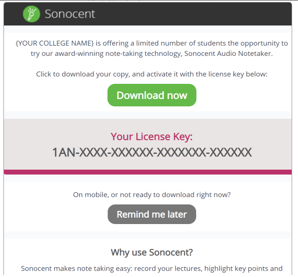 A graphic previewing the Sonocent introduction e-mail described above.