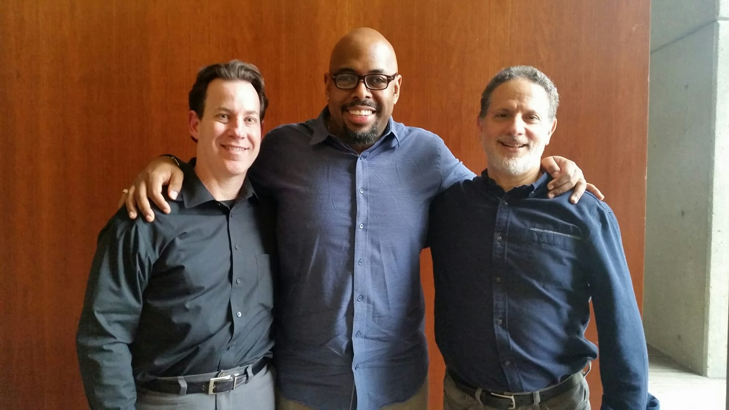 Dr. Bill Levine, right, with Country Music Hall of Fame curator and program director Michael Gray (left), and the program's host, bassist Christian McBride (center) following McBride's interview of Bill for the NPR program and podcast.